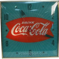 Vintage Wall Mount Light-Up Coca Cola Pam Clock c1960's