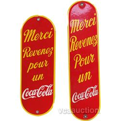 Lot Of 2 Coca Cola Porcelain Door French Push Plates