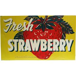 """Fresh Strawberry"" Tin Fruit Stand Sign"
