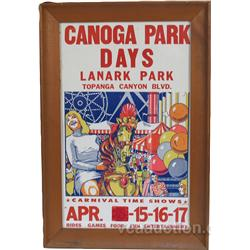 "Vintage ""Carnival Time Shows"" Poster In Frame"