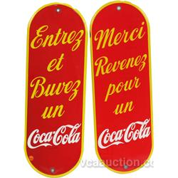 Lot Of 2 Coca Cola Porcelain Door French Canada Push
