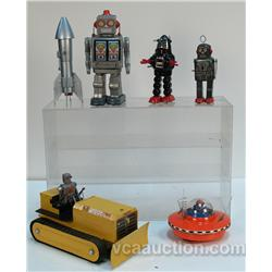 Lot Of 6 Early Space/Robot Type Toys c1930's - 1960's