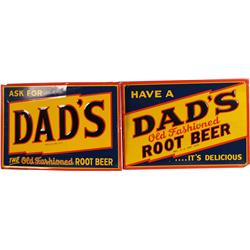 Lot Of 2 Dad's Root Beer Self-Framed Embossed Tin Signs