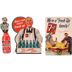 Lot Of 3 Vintage Soda Fountain Cardboard Advertisement