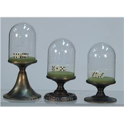 Lot Of 3 Glass Dome Dice Shakers