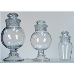 Lot Of 3 Early Country Store Countertop Glass Jars w/ L
