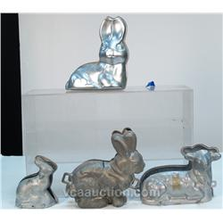 Lot Of 4 Aluminum Figural Cake Molds: