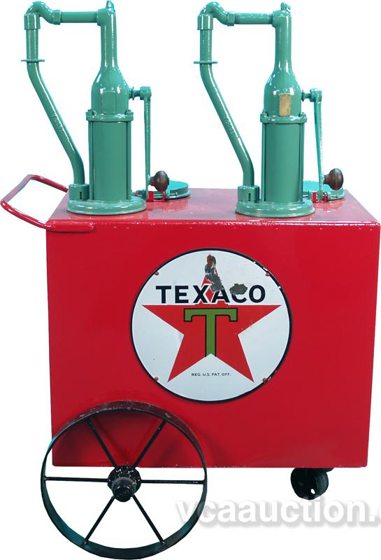 Early Texaco Gas Station Moveable Oil Pump Cart