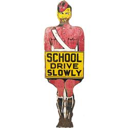 School Crossing Guard Figural Die-Cut Tin Sign