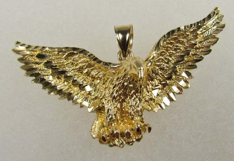 14k gold eagle pendant 175 wide 51 grams image 1 14k gold eagle pendant 175 wide 51 grams aloadofball Images