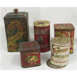 5 Antique Storage Tins