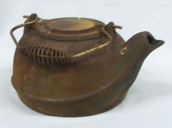 image 2 antique rustic cast iron kettle