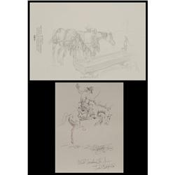 Sandy Ingersoll and Fred Oldfield, original drawings inside  books