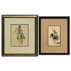Edward Borein, Pair of Pen and Ink Drawings, Marlene Miller letter included