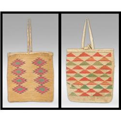 Pair of Nez Perce Corn Husk Bags, circa 1890s