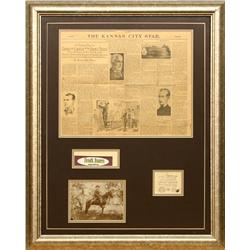 Frank James Photograph with original newspaper and other memorabilia