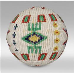 Cheyenne Beaded Game Ball, circa early-mid 1900's