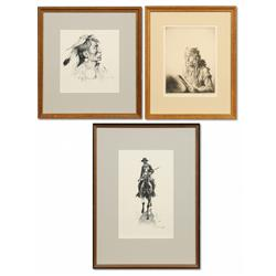 Pair of Ernest Berke drawings and a Levon West etching