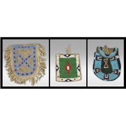 Three Northern Plains Beaded Bags, 19th century