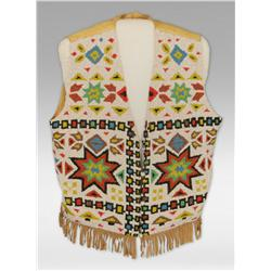 Wild West Show Beaded Vest and Pennant, Early 1900s