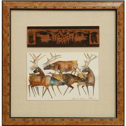 Gene and Rebecca Tobey, watercolor with wood inlay