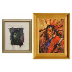 Pair of paintings by Rocky Hawkins and Mike Larsen