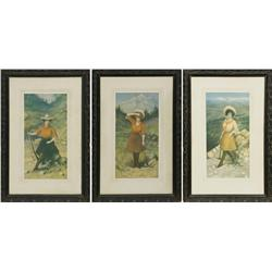 H.M. Pollock, 3 lithographs in original frames