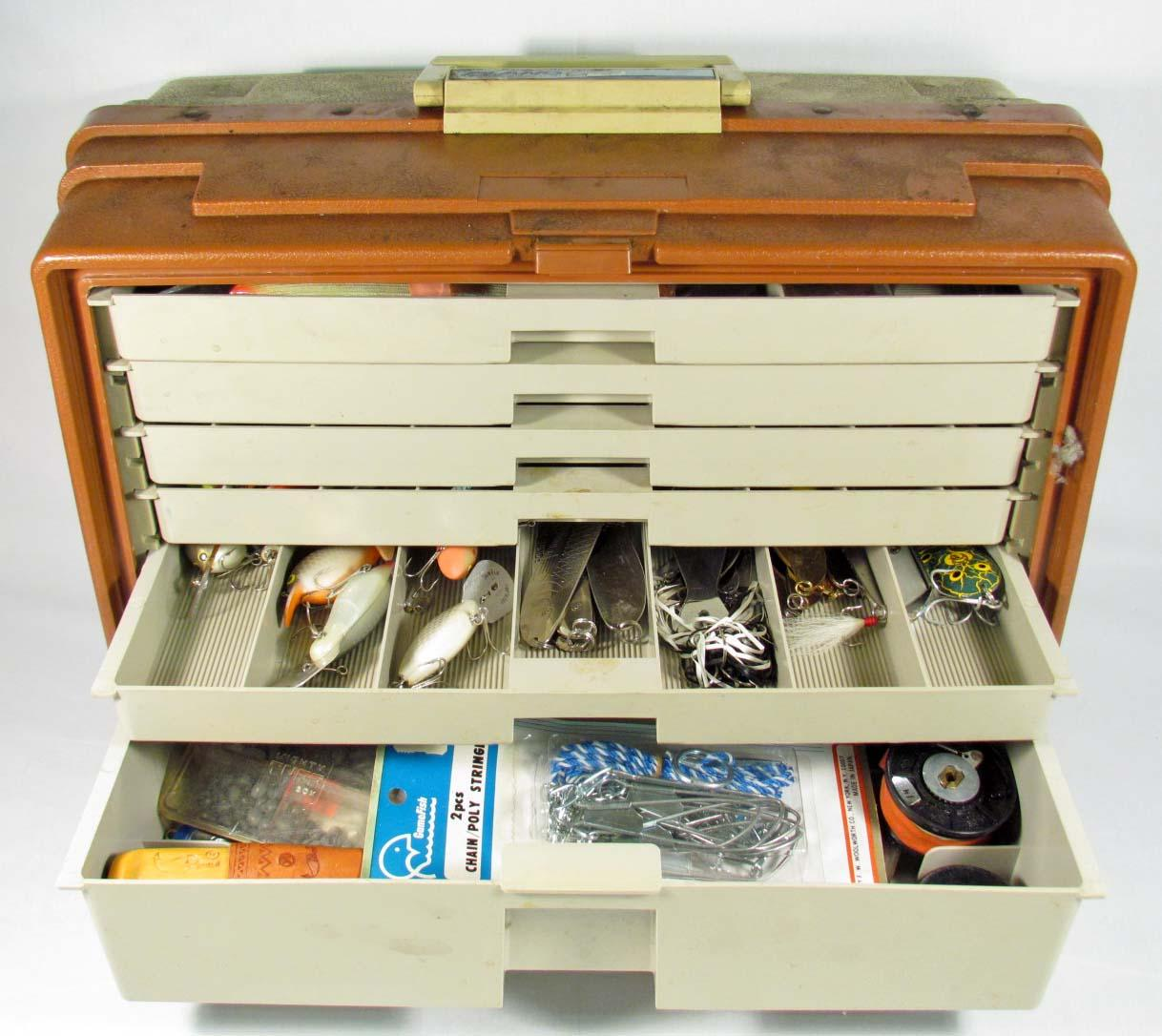 Large vintage plano fishing tackle box w contents for Large tackle boxes for fishing