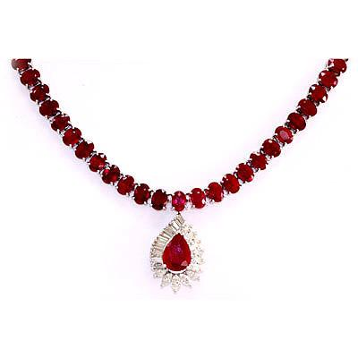 Genuine vintage design 9149 ctw ruby necklace 14kt white gold mozeypictures Gallery