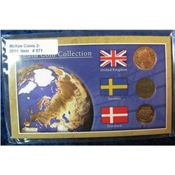 571. Three-Piece Euro Coin Collection in special holder.