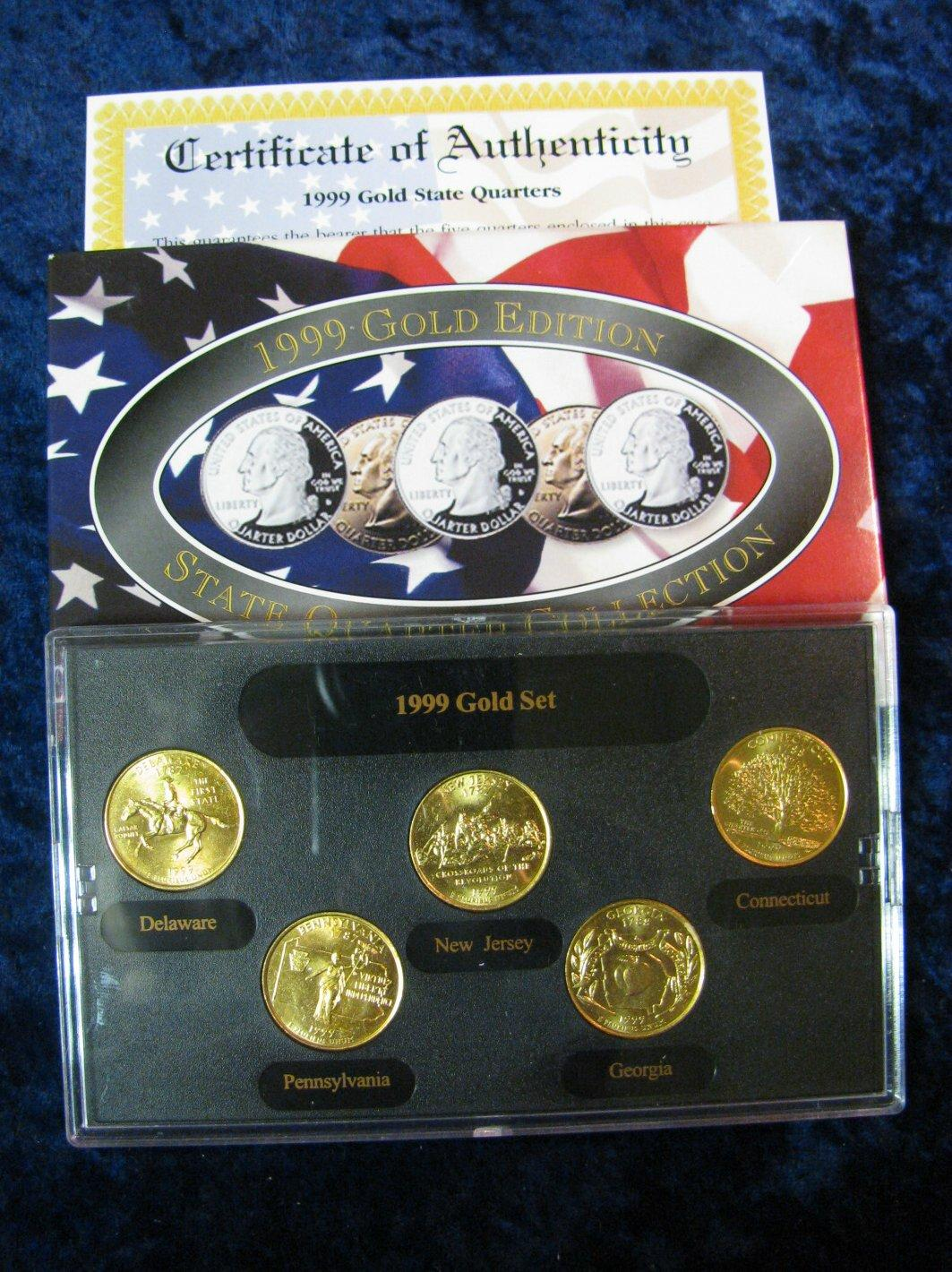 17. 1999 gold edition state quarter collection in special holder and.