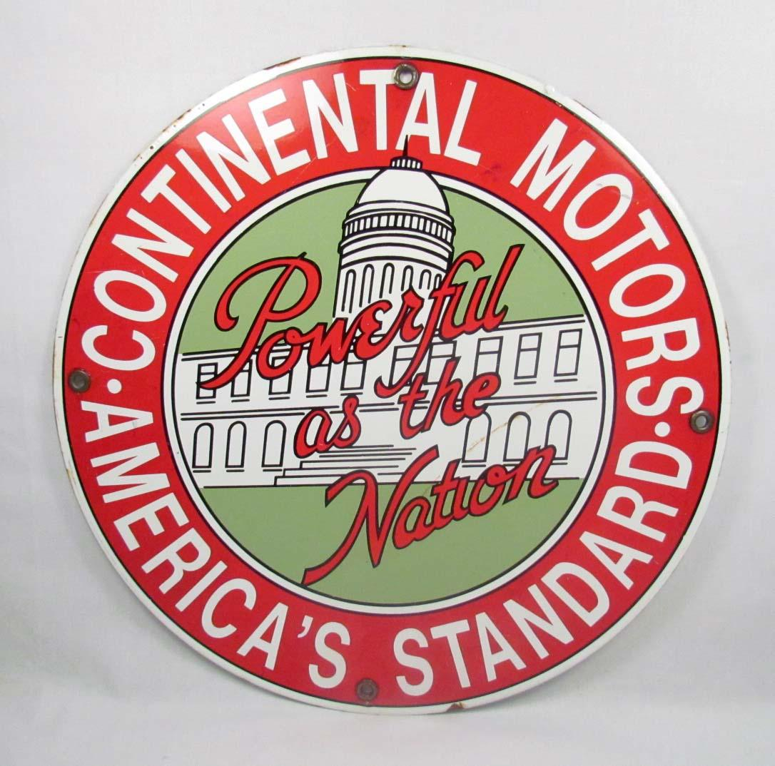 Continental Motors Porcelain Advertising Sign