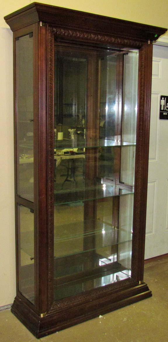 Large Wood And Gl Display Cabinet W Glas Loading Zoom