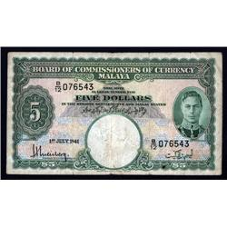 Malaya - Board of Commissioners of Currency, Malaya, 1941 (1945) Issue.