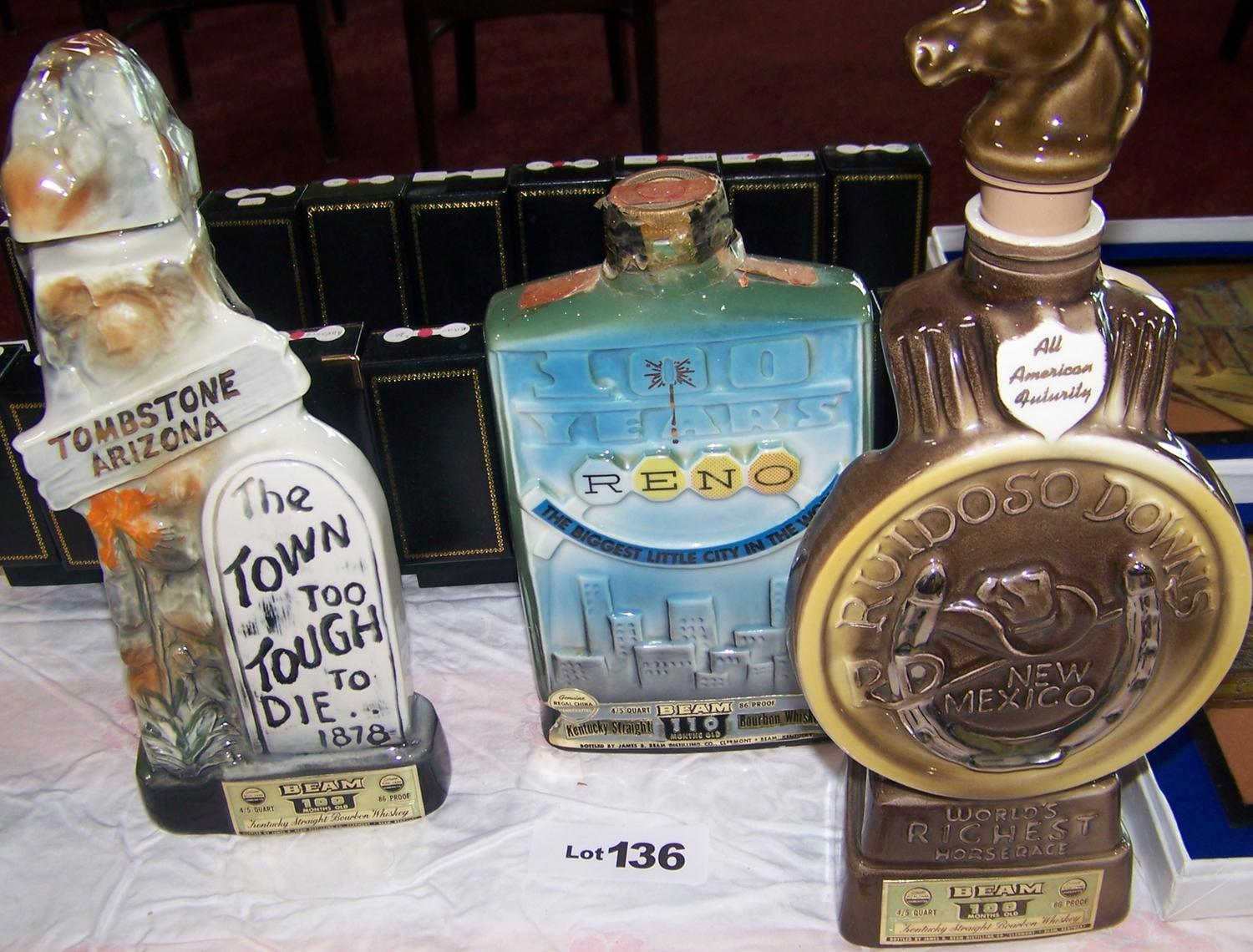 Lot Of 3 Vintage Collectible Jim Beam Bottles