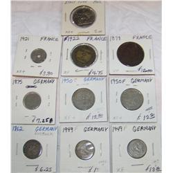 Lot of 10 Foreign Coins. France and Germany.