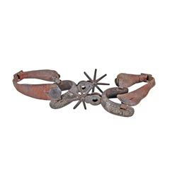 Pair of Silver Inlaid Mexican Spurs Large rowels and leather boot straps.Large rowels and leather bo