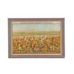 "Original Busch Advertising Print Depicting ""Custer's Last Fight (1896)"", in its original frame with"