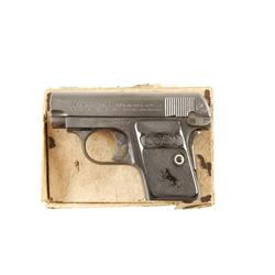 Colt Baby Pocket Cal .25acp SN:304151 Single action semi auto pocket pistol. Blued finish, black che