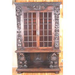 Early 19th Century European Hutch Mahogany with two Mulloun window doors with wood peg construction,