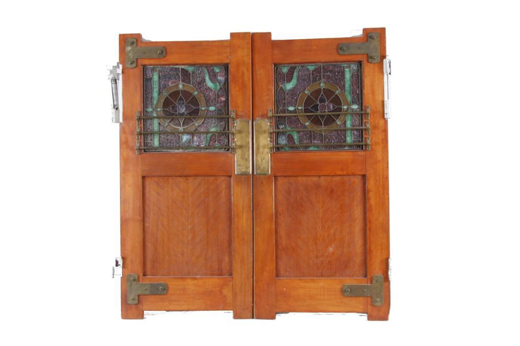 Image 1 : Antique Oak Saloon Doors With beautiful stained glass recessed  panels, original brass - Antique Oak Saloon Doors With Beautiful Stained Glass Recessed