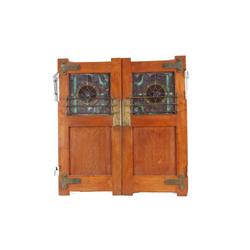 Antique Oak Saloon Doors With beautiful stained glass recessed panels, original brass hardware from