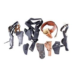 Box Lot of Nine Holsters Includes one nice Bianchi leather rig from the Stembridge Gun Rentals.Inclu