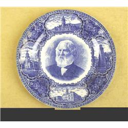 Flo Blue Souvenir Plate Shows Henry Longfellow at the center along with the State of Maine landmarks