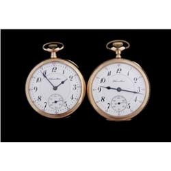 Collection of Two Hamilton Pocket Watches Open faced, yellow rolled gold,  models 956 & 978 are 17 j