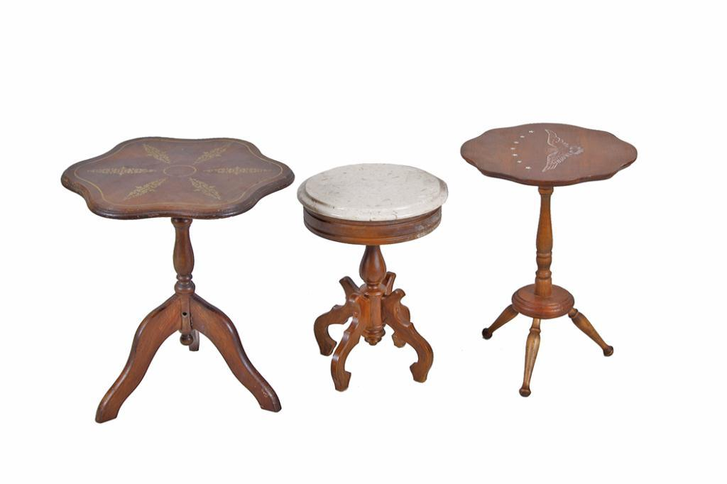 Collection Of Three Side Tables Including One Small Round Table With Marble  Top, And Two Antique Til