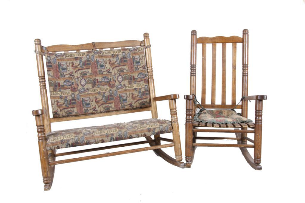 Collection Of Two Oak Rockers One Nice Double Porch Rocker