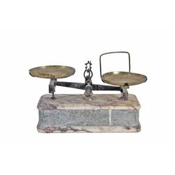 Antique Scale on Marble Base  Leoni Cas  carved in front.Leoni Cas carved in front.