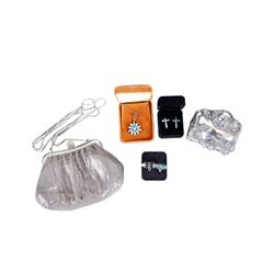 Lot of Six Pieces Including a sterling plated ladies jewelry box, a mesh purse, a Checz glass neckla