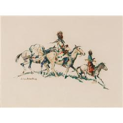 Black, Laverne Nelson - Two Indians on Horseback with Pack Horse (1887-1938)